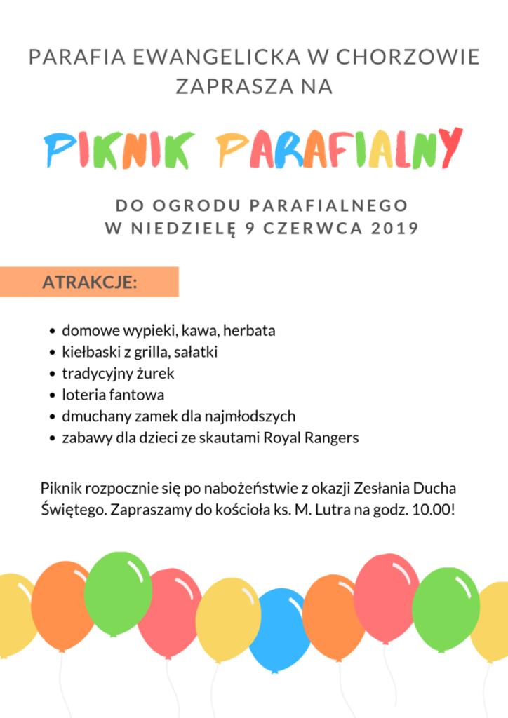 Zapraszamy na Piknik Parafialny!